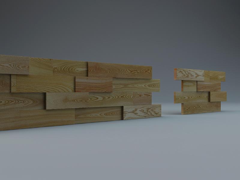 3D модели деревянных стеновых панелей